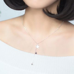A'ROCH - 925 Sterling Silver Star Drop Sterling Silver Necklace