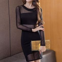 Neon Nite - Mesh Panel Long Sleeve Mini Dress