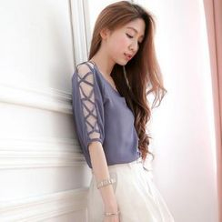 Tokyo Fashion - Elbow-Sleeve Chiffon Top