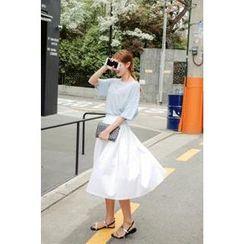 CHERRYKOKO - Pleated-Front Cotton Midi Skirt