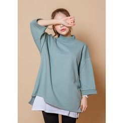 J-ANN - Mock-Neck Seam-Trim Pullover