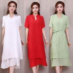Diosa - Short-Sleeve Plain A-Line Midi Dress