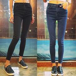 OCTALE - Frayed Hem Skinny Jeans