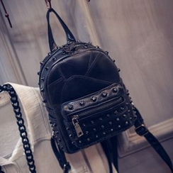 ALIN - Faux-Leather Studded Backpack