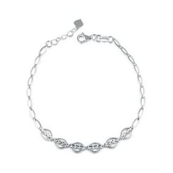 MaBelle - 14K White Gold Diamond Cut Infinity Beads Intercross Bracelet (17.5cm)
