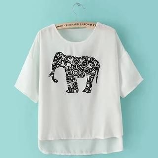 JVL - Short-Sleeve Elephant-Print Chiffon Top