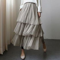 LULASI - Tulle Ruffle Maxi Skirt