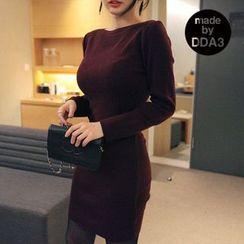 Seoul Fashion - Boat-Neck Bodycon Dress
