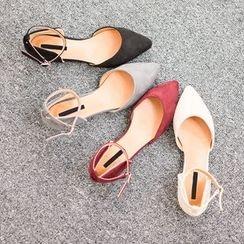 VIVIER - Faux-Suede Ankle-Strap Flats