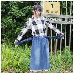 P.E.I. Girl - Lace Panel Suspender Denim Skirt