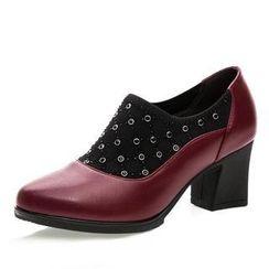Hannah - 真皮粗跟高跟鞋