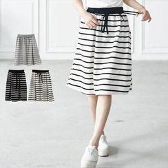 LULUS - Drawstring Striped Midi Skirt