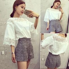 Honey Diary - Set: Lace Panel Elbow-Sleeve Top + Wide Leg Shorts