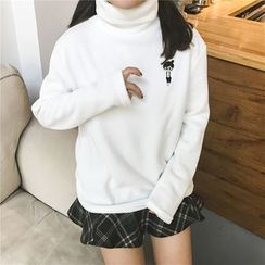 Cattie - Mock-neck Embroidered Sweatshirt