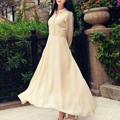 MUSI - Stand Collar A-Line Maxi Dress