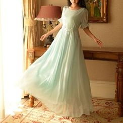 MUSI - Short-Sleeve Maxi Chiffon Dress
