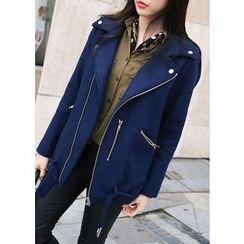 J-ANN - Wool Blend Zip-Detail Rider Jacket