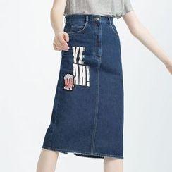 BOHIN - 印花牛仔長裙