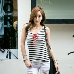 GUMZZI - Lace-Up Stripe Tank Top