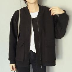 Frontline - Plain Knit Baseball Jacket