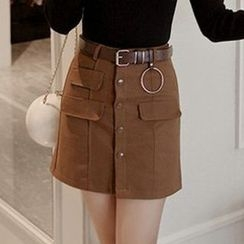 Queen Bee - Buttoned Asymmetric Skirt