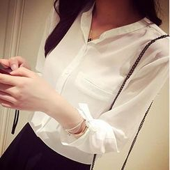 Cloud Nine - Mandarin Collar Tie-Sleeve Chiffon Blouse