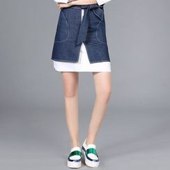 Rosesong - Front Zip Bow Accent Denim Skirt