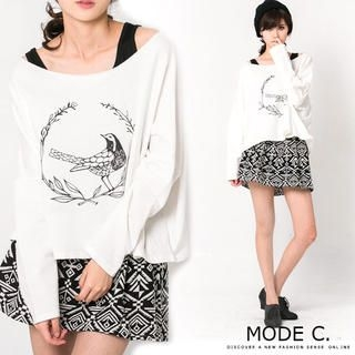 MODE C. - Boatneck Bird-Print Cropped T-Shirt