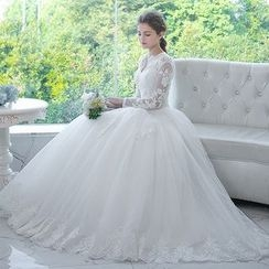 MSSBridal - Long Sleeve Lace Trim Wedding Ball Gown