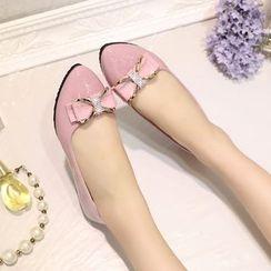 EMIL - 缀饰蝴蝶结平跟鞋