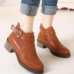 Mancienne - Buckled Ankle Boots