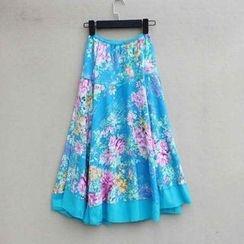 Flower Idea - Elastic-Waist Floral Maxi Skirt