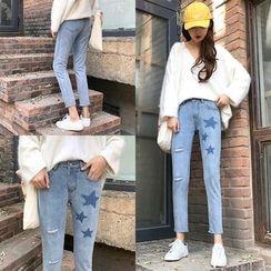 Jeans Kingdom - Star Print Washed Slim Fit Jeans