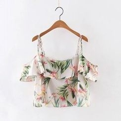 Amoura - Floral Print Ruffle Trim Camisole Top