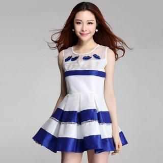 Muzi - Sleeveless Appliqué Color-Block Dress