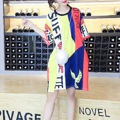 Arroba - Elbow-Sleeve Lettering T-Shirt Dress