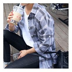 OTTI - Plaid Long-Sleeve Blouse