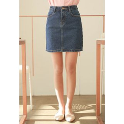 MyFiona - Button-Front Denim Mini Skirt