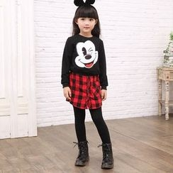 Smart Kids - Kids Inset Plaid Skirt Leggings