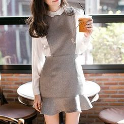 Lovebirds - Mock Two Piece Long-Sleeve Paneled Dress