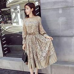 Honeydew - 長袖A字蕾絲連衣裙