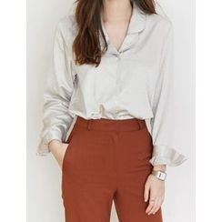 FROMBEGINNING - Notched-Collar Satin Blouse