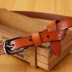 LONGMA - Pointelle Genuine Leather Belt