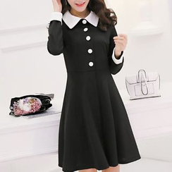 Q.C.T - Long-Sleeve Color Block A-Line Dress