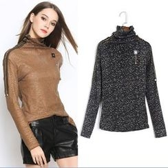 MayFair - Glitter Turtleneck Long-Sleeve Top
