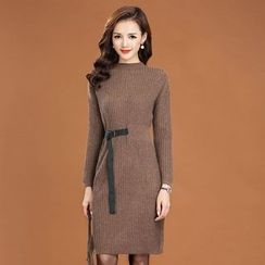 Romantica - Belted Ribbed Knit Dress