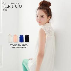 rico - Sleeveless Studded-Collar Chiffon Shirt