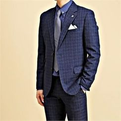THE COVER - Notched-Lapel Single-Breasted Plaid Jacket