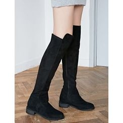 FROMBEGINNING - Faux-Suede Over-the-Knee Boots