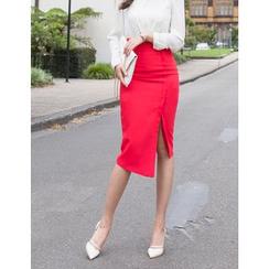 GUMZZI - Slit-Side Asymmetric-Hem Skirt